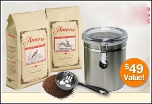 Amora Coffee and Stainless Steel Canister